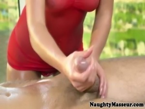 Brunette masseuse riding hard cock free