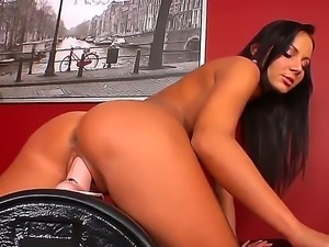 Ravishing brunette Nataly shows off her new sybian aggregate in the exciting...