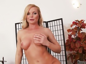 Silvia Saint touches her dripping wet love hole after stripping
