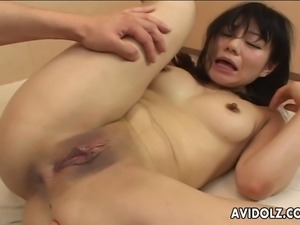 Craving Asian tart moans while her man is banging her shaved cunt. He drills...