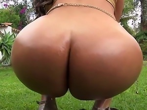 Nasty and horny blonde named Sandra shows her big ass and sucks a cock