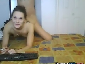 Horny amateur Russian couple filming themselves being naughty