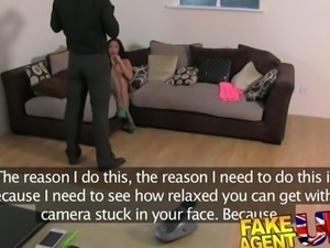 FakeAgentUK Filthy mouthed office girl brings toys to fake casting
