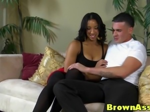 Round ass ebony beauty in nylons gets cumshot while in the doggystyle position