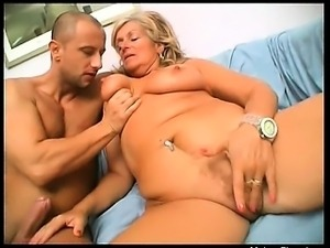 Busty blonde mature whore gives nice head to her younger