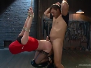 bound katie gets rammed really hard from behind
