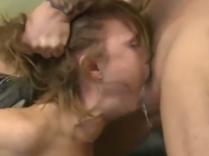 Asian whore Mika Tan puking on a big dick
