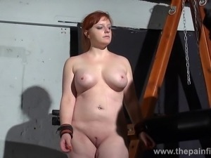 Young redhead slavegirl Vickys dungeon whipping and swedish submissive tied...