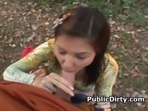 Brunette European amateur girl sucking dick and fucked doggysytle outdoors in...