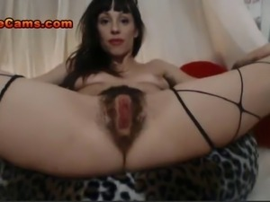 Slim Unshaven Cutie With A Hairy Pussy Oils Up Her Ass For A Thick Cock