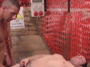 Two horny gay are half naked on a work part1