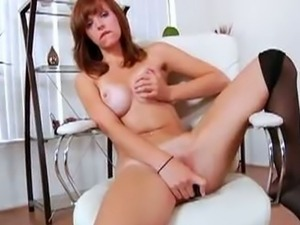 Red head slut toys wet pussy