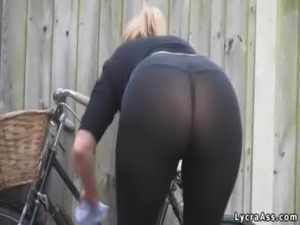 Sexy big ass in transparent lycra leggings tights & thong free