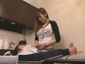 Subtitled busty Japanese stylist gives client a handjob