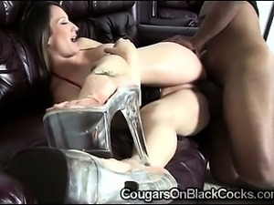 Bustie brunette MILF gets smashed by huge massive dong