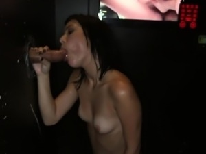 Five glory hole cocks sucked by Ava Cash