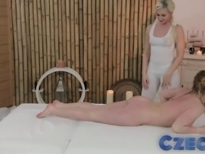 Czech Teen lesbians enjoy oily massage and deep finger fun