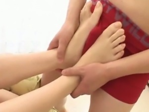 Asian sweetheart has her lovely feet licked