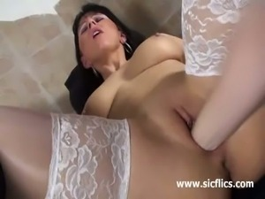 Busty brunette milf gets fisted deep and hard