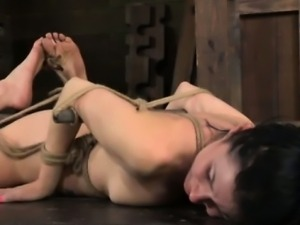 Hogtied sub gets hrt pussy fingered