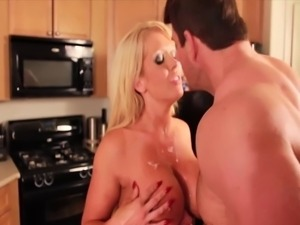 Blonde Mature fucked in kitchen
