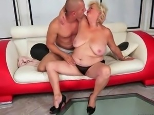 Young man fucking naughty fat granny on the couch