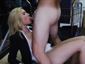 Hot milf pounded by pervert pawnkeeper in storage room