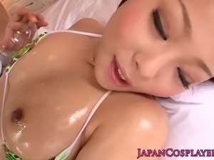 Japanese bikini brunette gets her pussy rubbed