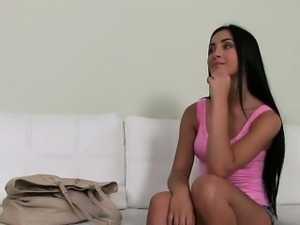 Beautiful Euro brunette babe fuck on casting
