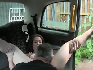 Slutty amateur customer fucked by pervert driver in the cab