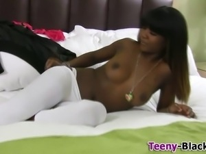 Ebony teen toyed n fucked