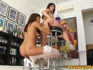 Lesbian babe anally fisted by hot pal