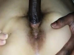 White girl takes black cock from behind