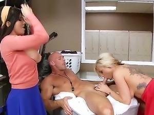 Busty college sluts Kate Frost and Romi Rain share a boner
