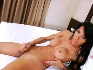 Gorgeous busty shemale Shasha solo play on the bed