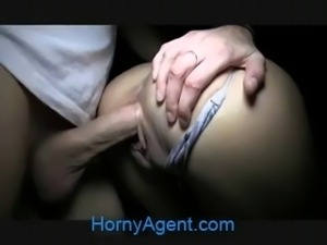 HornyAgent Sindy is almost too tall to fuck