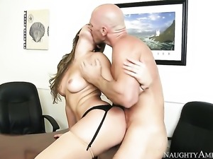 Johnny Sins gets pleasure from fucking adorably sexy Dani Danielss muff pie