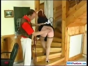 Chubby redhead maid gets to pleasure her boss and gets banged