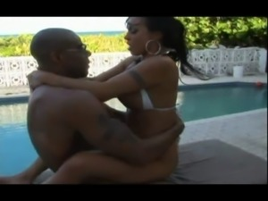 Big black dick pounds latina slut with big tits by the pool! free