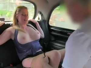 Natural busty blonde pussy eaten in fake taxi
