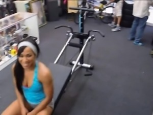 Ebony gym trainer banged by pervert pawn man at the pawnshop