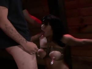 Asian slave gags on cock