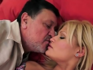 Randy aged pervert fucks hot blonde