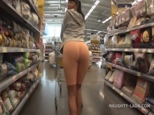 Cameltoe and flashing in the supermarket free