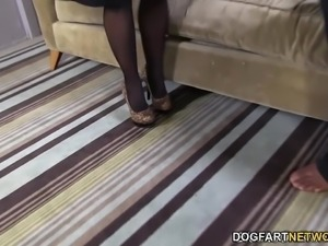 Janet Mason sucks and spits all over Mandingo's big black cock until her...