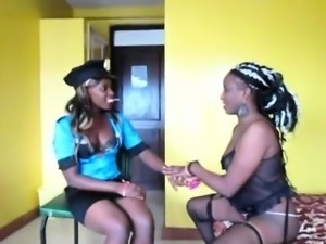 Hot Ebony lesbians dress up before they pleasure each other