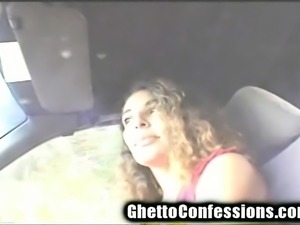 Lustful hooker with a cute smile gives a fabulous blowjob in the car