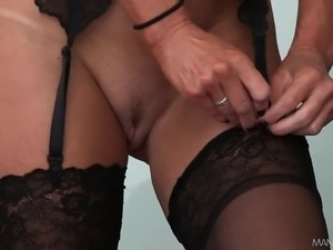 Trashy brunette milf in lingerie has a hung stud punishing her holes