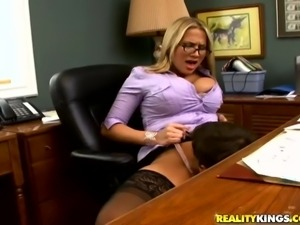 Delicious Alanah Rae Gets Her Snatch Licked Under Her Desk At The Office