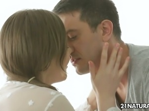 Pale babe Tina Kay gets her pinkish pussy licked and fucked in missionary...